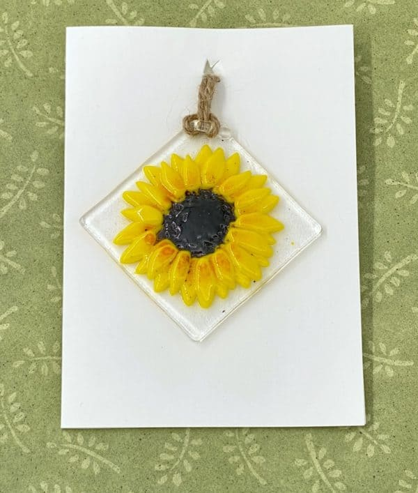 "Sun flower 3"" square glass sun catcher hanging from the corner"