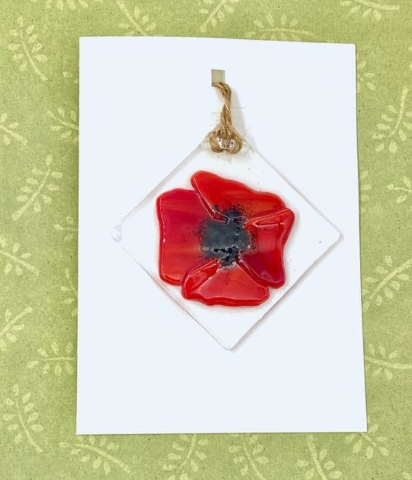 """Bright red glass poppy flower 3"""" square sun catcher attached to blank card"""