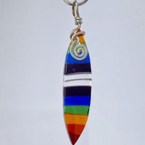 Rainbow striped pointed oval necklace with swirl bail