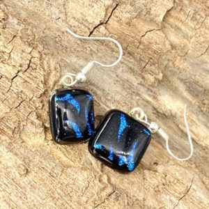 square black dangle earrings with blue and purple accents
