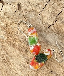 "Tie shaped 1"" long orange green and white speckled earrings with sterling silver french ear wires"