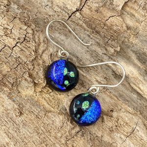"1/2"" circular drop earrings with half blue and half green polka dots on sterling silver ear wires"