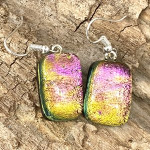 "7/8"" x 5/8"" super sparkle pink/gold/green/orange dangle earrings on sliver french hooks"