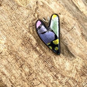 Small heart pendant with green, purple, pink and yellow shiny mosaic