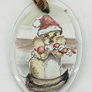 chipmunk with fat cheeks and santa hat ornament