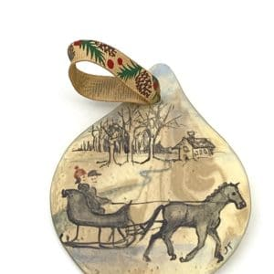vintage horse and sleigh hand painted ornament