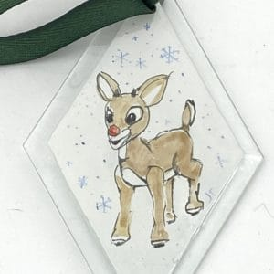 red nosed reindeer diamond shaped ornament