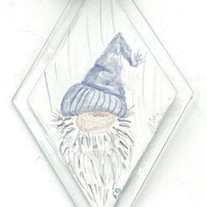 gnome head in light purple stocking cap