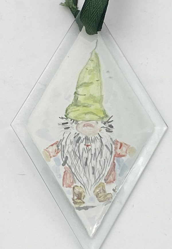 """hand painted gnome wearing a green hat on 3"""" diamond shaped ornament"""