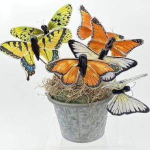 basket of butterflies, tiger swallow tail, monarch, paper kite and white with black accents