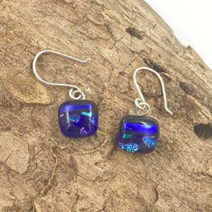 """Small, square bright cobalt shiny blue stripe center with teal and pink shiny spots above and below earrings. they are 3/8"""" squares and are attached to sterling silver french wires"""