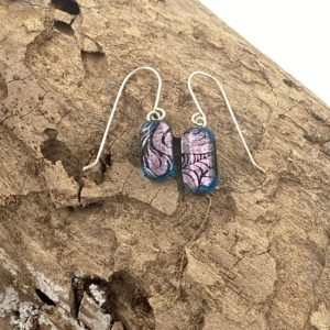 """5/8"""" x 3/8"""" teal background with pink swirl dangle earrings sterling silver extra long french wires"""